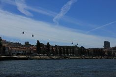 Cable car on the river New York Skyline, Cable, Louvre, River, Spaces, Porto, Scouts, Cabo, Cords