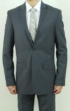 Men's Two Button Charcoal Pin Stripe Slim Fit Suit