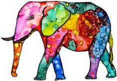 An Whimsical elephant done with alcohol ink and a Sharpie and now available on note cards. Completed 2-19-15. http://www.kathleensartcreations.com/apps/webstore/products/show/6046371