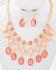 Gold Tone / Peach Acrylic / Lead Compliant / Graduating / Charm Necklace & Fish Hook Earring Set