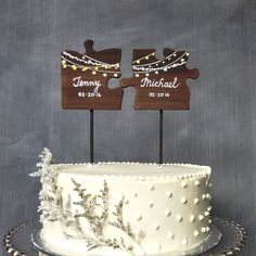 Wooden Wedding Cake Topper, Puzzle Pieces Topper, Mr/ Mrs Wedding Cake Topper, Fairy Lights Cake Topper - Home Decor Fall Wedding Cakes, Wedding Topper, Wedding Cake Designs, Country Wedding Cake Toppers, Wedding Themes, Mr And Mrs Wedding, Our Wedding, Quirky Wedding, Wedding Summer