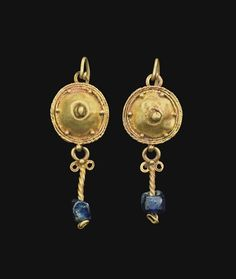 A PAIR OF ROMAN GOLD AND GLASS EARRINGS CIRCA 2ND-3RD CENTURY A.D.