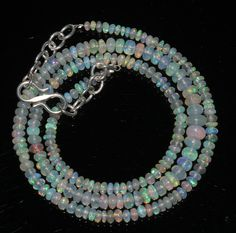 """30 Ctw 1Necklace 2to5 mm 16""""Beads Natural Genuine Ethiopian Welo Fire Opal 97864"""
