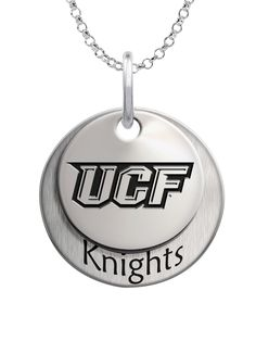 Solid sterling silver University of Central Florida charm necklace set.
