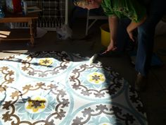 Fabulous Floorcloths made from coating a table cloth with several coats of polyurethane