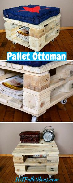 Wood Pallet Ottoman with Blue Cushion - Easy Pallet Ideas Pallet Furniture Designs, Pallet Patio Furniture, Wooden Pallet Furniture, Wooden Pallets, Pallet Crates, Pallet Art, Diy Furniture Instructions, Pallet Ottoman, Pallet Ideas Easy