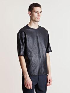 Lanvin Men's Topstitched Leather T-shirt