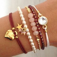 Bordeaux bracelets #bracelet #charmbracelets #charm #luckycharms #acessórios #pulseiras