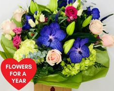 Flowers For A Year: Booker Flowers and Gifts. #valentinesflowers #liverpoolflorist #flowersdelivered #flowerdelivery | Booker Flowers and Gifts Liverpool, Merseyside | Flower Delivery Liverpool - Same Day Delivery option | Florist Liverpool | Flower & Gift Shop Liverpool Valentines Flowers, Mothers Day Flowers, Birth Flowers, Mother's Day Bouquet, Pink Rose Bouquet, Flower Bouquets, I Love You Balloons, Love Balloon, Rainbow Bouquet