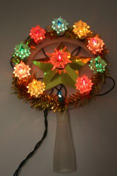 reserved for anna vintage christmas lighted tree topper multi colored lights mini with original box