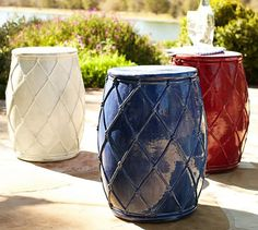 Loving these red, white and blue Net Ceramic Accent Tables