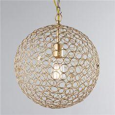 "Circles Sphere Pendant Light - Large  gold or silver  $179  18"" dia.  3' chain  www.shadesoflight.com"