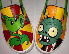 Plants vs Zombies Inspired Special Occasion Hand Painted Shoes
