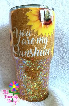 30 oz tumbler - You are my Sunshine; Sunflower gold tumbler 30 oz tumbler You are my Sunshine Sunflower gold tumbler Diy Tumblers, Personalized Tumblers, Custom Tumblers, Glitter Tumblers, Personalized Teacher Gifts, Cup Crafts, Crafts For Kids, Epoxy, Dancing Daisy
