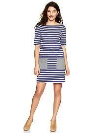 Striped chambray dress