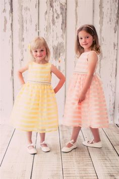 Darling chenille stripe organza dress comes with a detachable pearl gem sash. Gorgeous and classic style for your girls fabulous event. Located in Oakville, Ontario, Canada or shop online www.gld-forkids.com