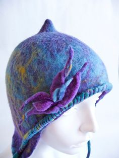 OOAK Hand-Dyed Supersoft Merino Wool Turquoise Peruvian-Style Hat. $155.00, via Etsy.