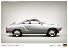 Firstcar Illustrations | Personalized Car Illustrations | Volkswagen Karmann Ghia 1970