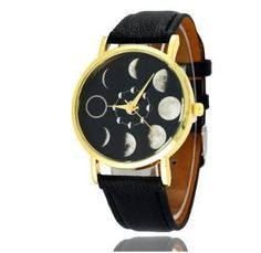 [US$5.99] Solar Moon Phase Lunar Eclipse Leather Strap Unisex Watch #solar #moon #phase #lunar #eclipse #leather #strap #unisex #watch
