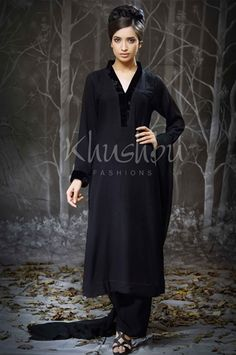 Black and white embroidered cotton kameez with plain black ...