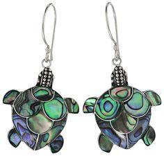 Sterling & Mother-of-Pearl Turtle Earrings.