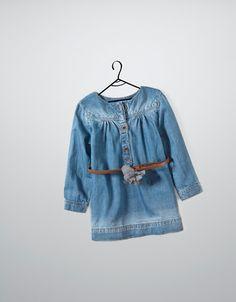 denim dress with belt - Dresses - Baby girl (3-36 months) - Kids - ZARA United Kingdom