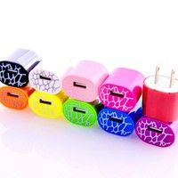 Magic-T 50pcs/lot USB AC/DC FULL 1.0 AMP Power Adapter 10 Colors Home Wall Travel Charger Plug for iPhone 3G 3GS 4 4s 5 5s 5c Ipod Touch Samsung Galaxy S1 S2 S3 S4