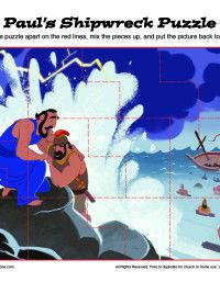 Children's Bible Printable Activity - Paul's Shipwreck Puzzle