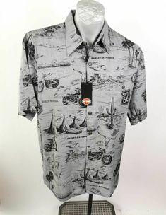 Harley Davidson Button Up Shirt Size M Gray Black Motorcycles Route 66 SS ⚡ #HarleyDavidson #ButtonFront Route 66, Harley Davidson, Button Up Shirts, Men Casual, Motorcycles, Grey, Sleeves, Mens Tops, Hawaii