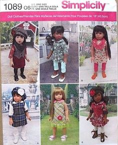 18-034-GIRL-DOLL-CLOTHES-Simplicity-Sewing-Pattern-1089-American-Made-NEW-Uncut