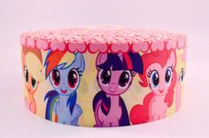 "3"" Wide My Little Pony Faces Printed on Grosgrain Cheer Bow Ribbon"
