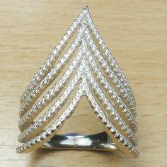 Brilliant cut Micro Setting White CZ 925 Sterling Silver Ring