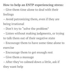ENTP and Stress Relief/Help