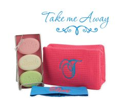 A large cosmetic bag for your beauty needs, a headband, and a pack of great smelling soap with shea butter and vitamin E to help your skin stay soft and youthful.