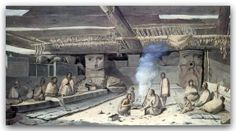 John Webber [c1750-1793]  Interior of a West coast First Nation House at Friendly Cove on Vancouver Island, 1778. The birthplace of British Columbia is the small community of Yuquot, also known as Friendly Cove, the site of the first contact between Europeans and First Nations people in British Columbia.