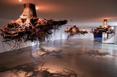 Installation by Sicilian artist Giuseppe Licari presents a fanciful network of tree roots, which seem to transform TENT's central space into a mysterious underworld: the roots project downwards from the ceiling as if the trees are growing above it. The title of the work is 'Humus', referring to the soil layer that is essential for the growth of trees and plants, but which is indeed absent here. The relationship between humankind and nature, growth and decay are central themes in Licari's…