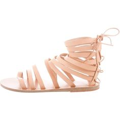 Pre-owned Ancient Greek Sandals Galatia Gladiator Sandals ($95) ❤ liked on Polyvore featuring shoes, sandals, neutrals, lace up shoes, lace-up gladiator sandals, laced up gladiator sandals, roman sandals and tan sandals