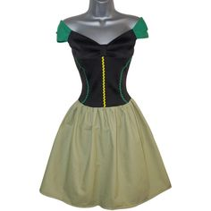 Adult Princess Anna Coronation Dress Fancy Dress Costume (UK 10) (US... ($56) ❤ liked on Polyvore featuring costumes, womens costumes, green costume, womens halloween costumes, adult princess costume y princess costume