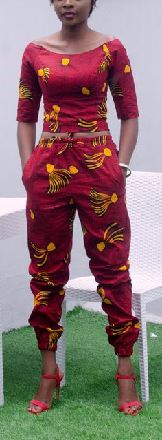 Zizibespoke Waki CapriJogger Set. This jogger pant set is made with high quality African Print fabric, it is 'made to order' and as such you can choose your preferred size. African fashion, Ankara, kitenge, African women dresses, African prints, African men's fashion, Nigerian style, Ghanaian fashion, fashion blogger (affiliate)
