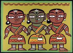 Indian Folk Art, Indian Artist, Native Indian, Traditional Paintings, Traditional Art, Saree Painting Designs, Indian Style, Jamini Roy, Bengali Art
