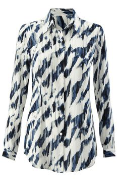 Discover Cabi's Moody Blues Blouse, a beautiful blouse with an electric pattern. View our fall women's clothing collection.