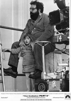 Francis Ford Coppola & Sofia Coppola on the set of The Godfather Part II, 1974 xxx Sofia Coppola, The Godfather Part Ii, Godfather Movie, Old Movies, Great Movies, 1990 Movies, Cinema Movies, Famous Directors, 7 Arts