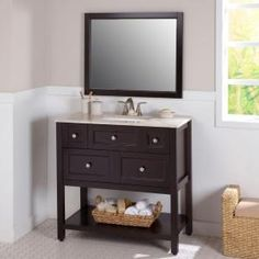 St. Paul Ashland 36.5 in. Vanity in Chocolate with Stone Effects Vanity Top in Baja Travertine and Wall Mirror AL36P3COM-CH at The Home Depot - Mobile