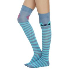 Disney Lilo Stitch Stripe Stitch Over-The-Knee Socks Hot Topic ($11) ❤ liked on Polyvore featuring intimates, hosiery, socks, above knee socks, striped socks, stripe socks, disney socks and disney