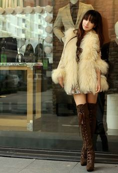 fur coat + Liz Lisa over the knee brown boots. Japanese #fashion #fur #cuteoutfit