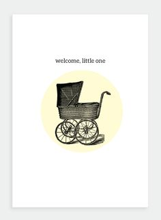 MM46 Welcome little one  (Pack of 6) Greeting Card, vintage pram, new baby