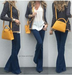 Yesterday cardigan top flared jeans and Ch - Chanel Cardigan - Ideas of Chanel Cardigan - Yesterday cardigan top flared jeans and Chanel Cardigan Ideas of Chanel Cardigan Fall Outfits, Casual Outfits, Cute Outfits, Fashion Outfits, Fashion Trends, Flare Jeans Outfit, Looks Style, My Style, Moderne Outfits
