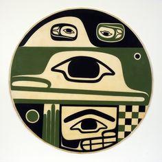 Steve Smith, Acrylic Painting on Elk Hide, Contentment, Northwest Coast Native Art