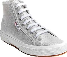 Meet the Superga 2795 LAME High Top Sneaker. Popular shoes from designer Superga in Silver Polyester. Look like a boss wearing these shoes made by the designer Superga. Best Sneakers, High Top Sneakers, Popular Shoes, Silver Shoes, Natural Rubber, Pumps, Heels, Superga, Converse Chuck Taylor
