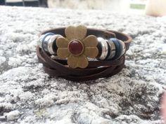 Trendy tribal brown leather bracelet